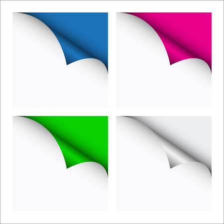 new corner: Set of four color curled corners of white sheets, vector illustration