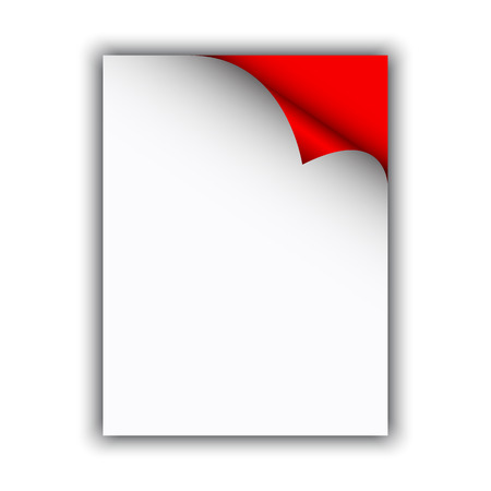 edge: Empty paper sheet with curled edge, vector illustration
