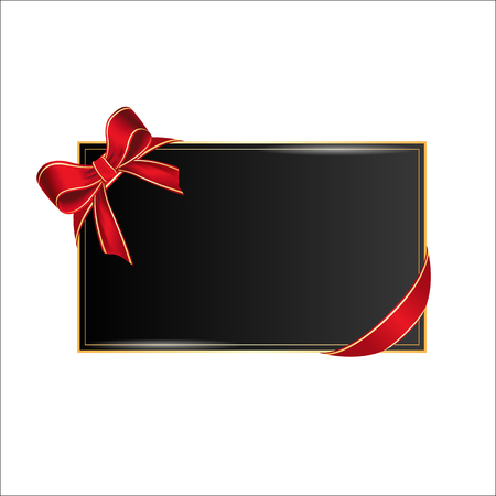 Card with place for your text with realistic red bow