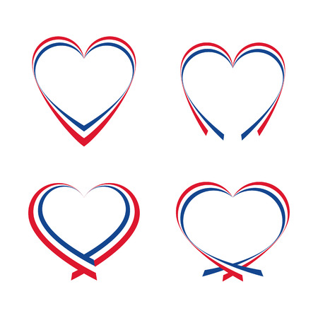 french flag: Abstract hearts with the colors of the French flag