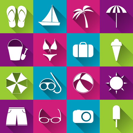 tree service: Summer beach flat icons, collection of white icons on colored tiles