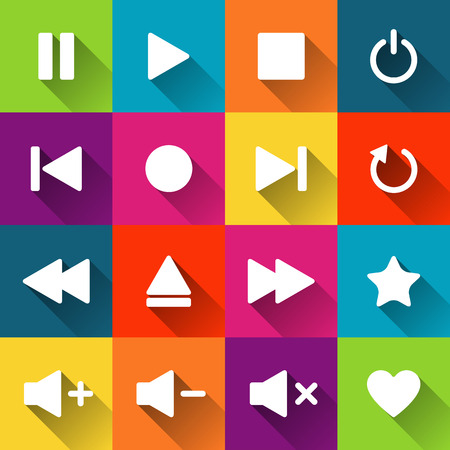 player controls: Simple media player icons on the colored tiles, flat design, vector illustration for your application, web, template