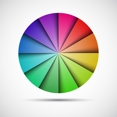 Color round palet op de grijze achtergrond, vector illustratie