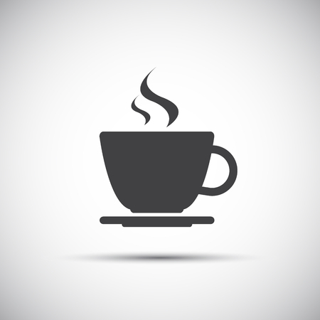 drinking coffee: Simple vector coffee icon isolated on white background
