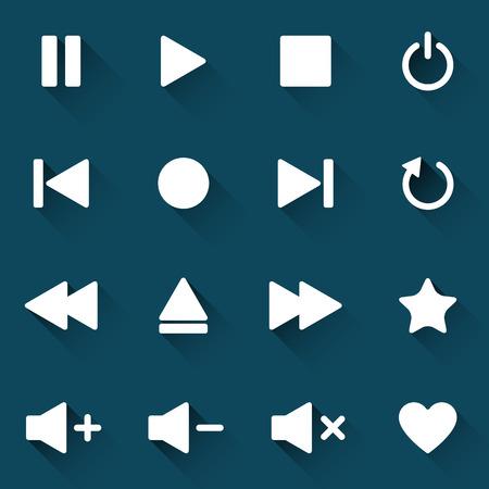 Eenvoudige mediaspelerpictogrammen op donkerblauwe achtergrond, vectorillustratie voor uw applicatie, web, sjabloon