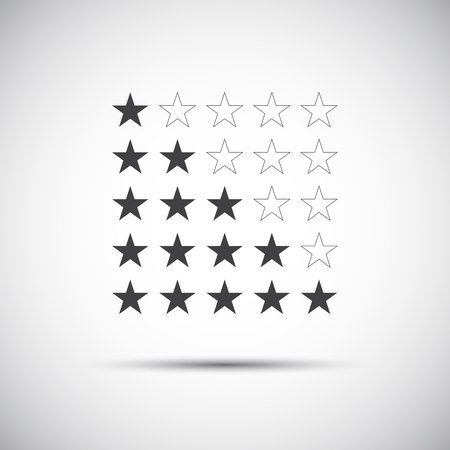 five stars: Siple illustration of five rating stars for your review