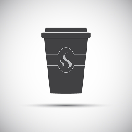 Simple icon paper cup of coffee Ilustração