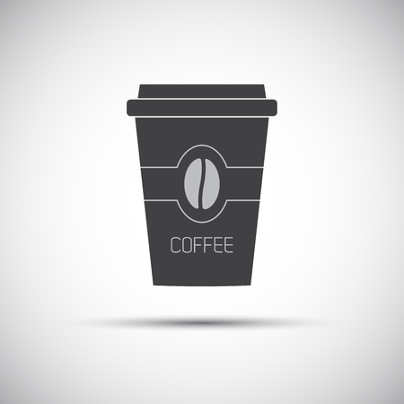 Simple icon paper cup of coffee with coffee bean