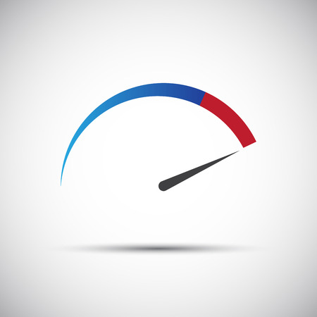 Simple thermometer, tachometer,  speed meter icon