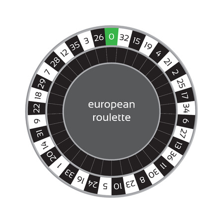 american roulette: illustration of european roulette wheel isolated on white background Illustration