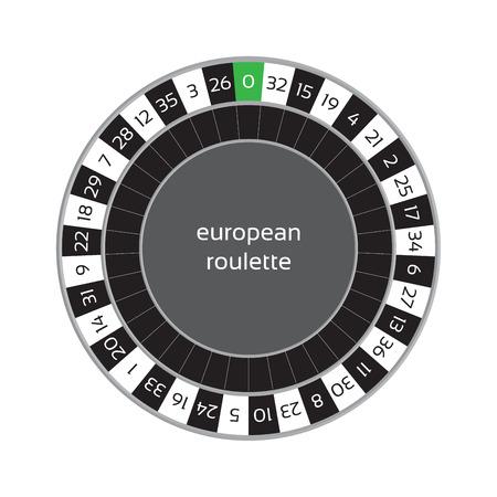 american roulette: illustration of european roulette wheel isolated on white background Illustration