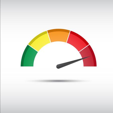 タコメーター、スピード メーターとパフォーマンス測定アイコン、web サイト、インフォ グラフィックおよびアプリのイラストをカラーします。