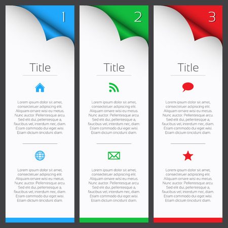 step by step: First, second and third infographic elements with title, description and icons