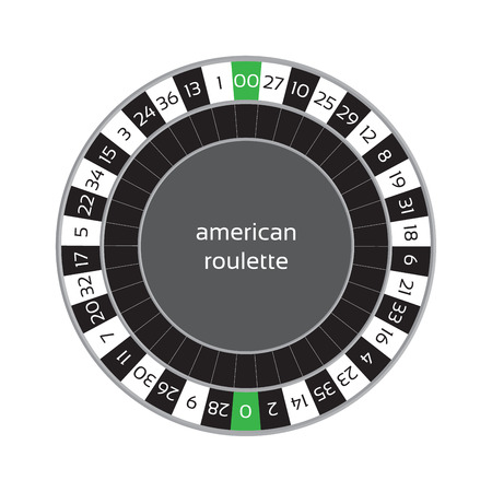 roulette online: illustration of american roulette wheel isolated on white background Illustration
