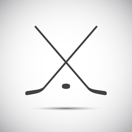 puck: Simple crossed hockey stick with puck icon Illustration