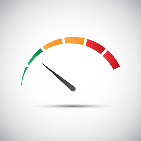 Simple tachometer with indicator in green part, speed meter icon, performance measurement symbol Illustration