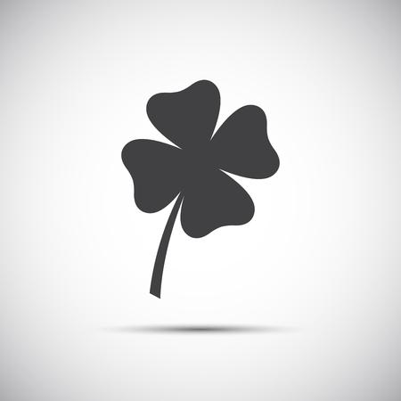 four fourleaf: Simple icon clover leaf, four leaf clover illustration Illustration