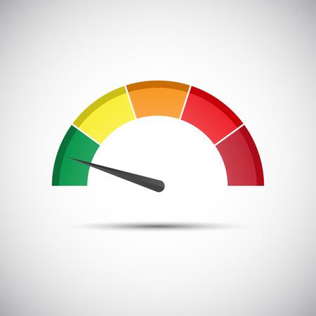 tacómetro color, medidor de flujo con indicador en la parte verde, medidor de la velocidad y el icono de la medición del rendimiento, la ilustración para su sitio web, infografía y aplicaciones Ilustración de vector
