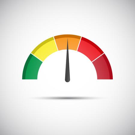 Kleur toerenteller, flow meter met indicator in oranje deel, snelheid meter en het meten van prestaties pictogram, illustratie voor uw website, infographic en apps