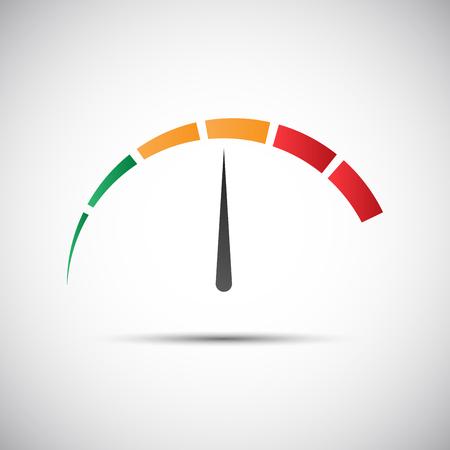 tachometer: Simple tachometer with indicator in orange part, speed meter icon, performance measurement symbol Illustration
