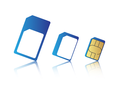 Mobile phone sim card set, standard, micro and nano sim card, illustration