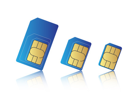 prepaid: Mobile phone sim card set, standard, micro and nano sim card, illustration