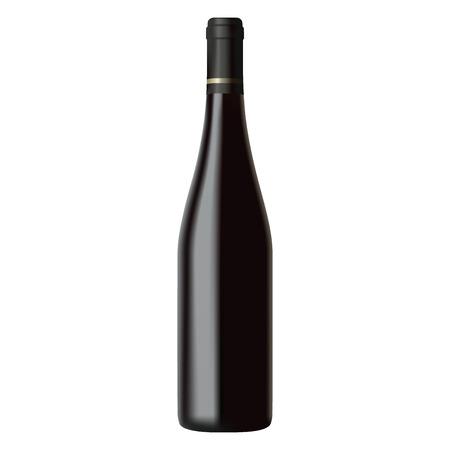 Black wine bottle isolated on white background, realistic illustration Vettoriali