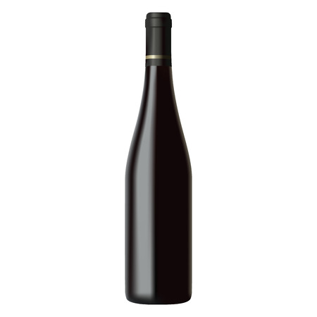 Black wine bottle isolated on white background, realistic illustration Illustration