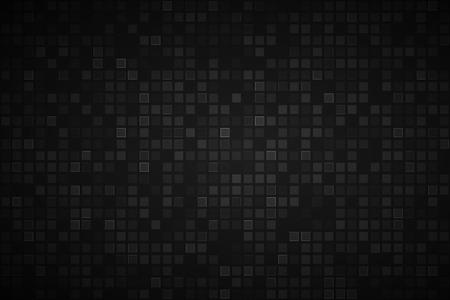 Zwarte abstracte achtergrond met transparante vierkanten, vectorillustratie