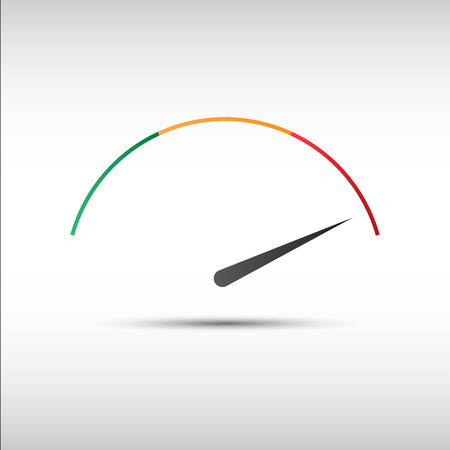 Simple tachometer with indicator in red part, speedometer icon, performance measurement symbol