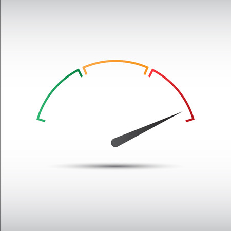 speed: Simple tachometer with indicator in red part, speedometer icon, performance measurement symbol