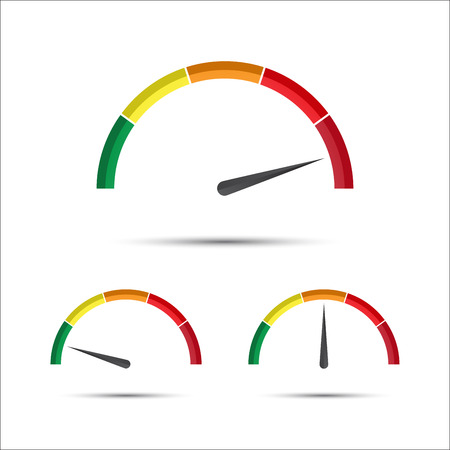 Set van eenvoudige vector toerenteller met indicator in groen, geel en rood deel, snelheidsmeter icoon, performance measurement symbool