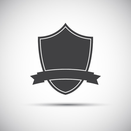 honor guard: Simple shield icon, flat style, vector illustration