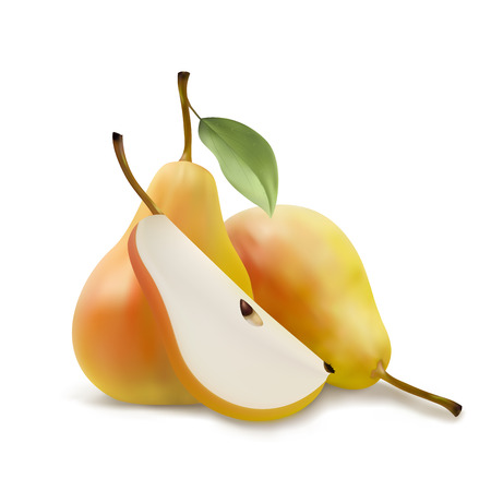leaf logo: Realistic illustration of pears, a piece pears, pears with leaf, vector illsutration isolated on white background
