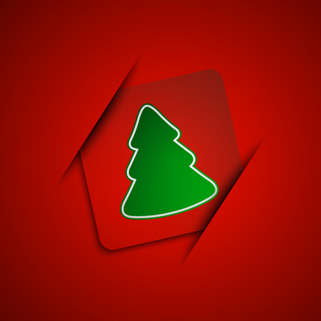 Simple vector christmas tree on red background, marry christmas