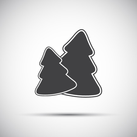 Simple grey icon of two christmas tree, vector illustration Ilustração