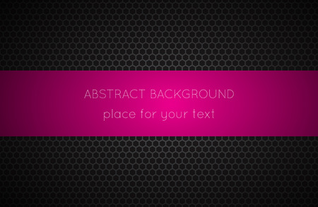dark fiber: Geometric polygons background with pink place for your text, abstract black metallic wallpaper, vector illustration Illustration