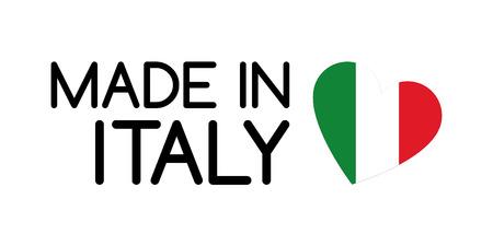 Made in Italy símbolo con el corazón en los colores de la bandera tricolor italiana Foto de archivo - 68892492