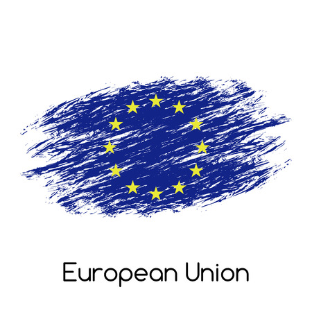 eu flag: Simple vector European Union flag (EU), grunge flag, vector illustration isolated on white background Illustration
