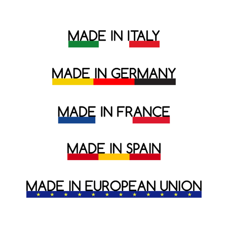 made in spain: Simple vector logos Made in Italy, Made in Germany, Made in France, Made in Spain and Made in European Union