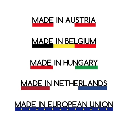 made in netherlands: Simple vector logos Made in Austria, Made in Belgium, Made in Hungary, Made in Netherlands and Made in European Union Illustration