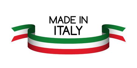 Symbole fait en Italie, ruban coloré avec le tricolore italien
