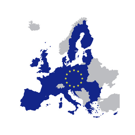 European Union map with stars of the European Union, map of member states in 2016, vector illustration isolated on white background