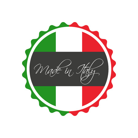 white sticker: Made in Italy symbol, italian sticker, vector symbol isolated on a white background