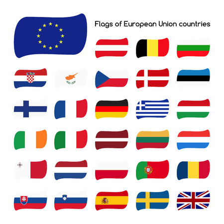 all european flags: Set the flags of European Union countries, member states in 2016, vector illustration isolated on white background