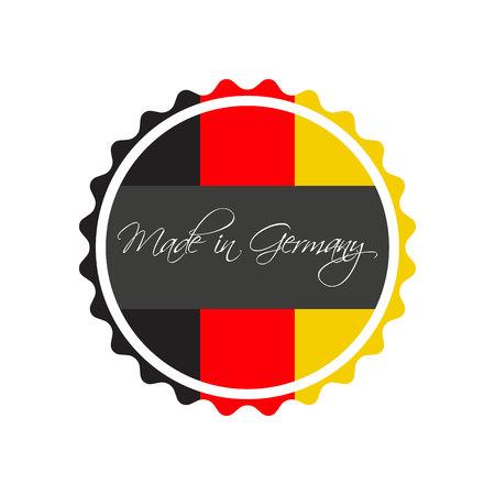 Hecho en símbolo de Alemania, etiqueta engomada alemana, símbolo del vector aislado en un fondo blanco