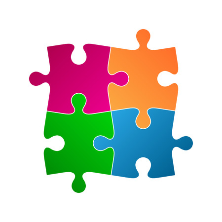 Four colored puzzle pieces, abstract symbol icon isolated on a white background Illustration
