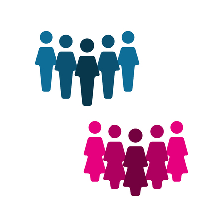 friend: Teamwork logo, group of people icon isolated on a white background