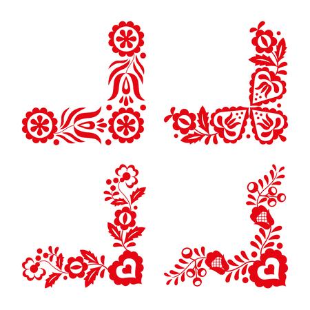 Set van vier traditionele folk ornamenten, rood borduurwerk geïsoleerd op een witte achtergrond, folk decoratieve patroon, vector illustratie Stock Illustratie