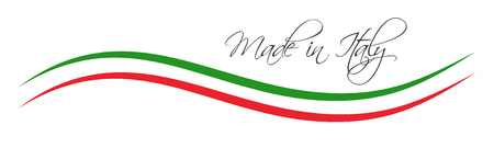 Made in Italy symbol, colored ribbon with the Italian tricolor